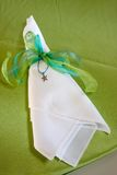 Napkin With Starfish Ornament Stock Photo