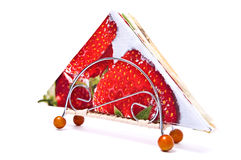 Napkin with strawberry Stock Images