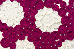 Napkin on the table embroidered crochet. Napkin on the table associated manually from circles Royalty Free Stock Photography