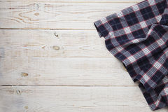Napkin. Tablecloth tartan, checkered, dish towels on white wooden table background top view mock up Royalty Free Stock Images