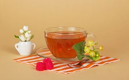 Napkin, tea, flowers and raspberry. On a beige background Stock Image