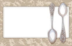 Napkin and teaspoons. Decorative frame in retro style Royalty Free Stock Images