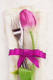Napkin with tulip Flower Royalty Free Stock Image