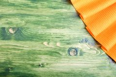 Napkin in the upper right corner on the green chalkboard with sp Royalty Free Stock Images