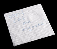 Napkin wit note Royalty Free Stock Images