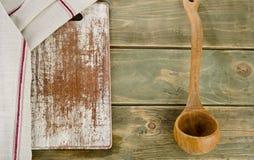 Napkin on a  wooden table Stock Photos