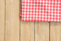 Napkin on wooden table, top view background Royalty Free Stock Photo