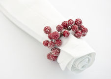 Napkin with xmas berry napking ring Stock Image