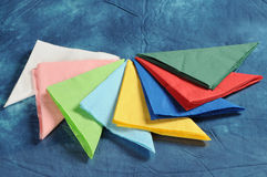 Napkins. A set of colored napkins royalty free stock images