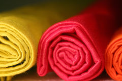 Napkins. Set of colorful rolled napkins Stock Photography