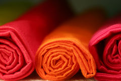 Napkins. Set of colorful rolled napkins Stock Images