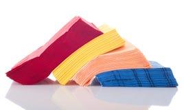 Napkins. Colorful row of napkins isolated on white background stock photos