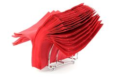 Napkins. Batch of red napkins over white Stock Photos
