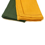 Napkins. Two table cloth napkins green and yellow stock images