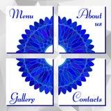 Napkins with blue mandala ornament Stock Photo