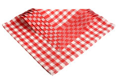 Napkins checkered red and white isolated. Stock Photo