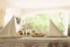 Napkins and Empty Glasses Stock Photography