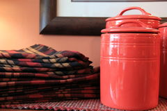 Napkins and red pots Stock Image