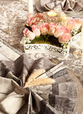 Napkins and roses Stock Image