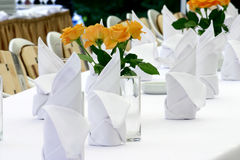 Napkins and roses Royalty Free Stock Photography