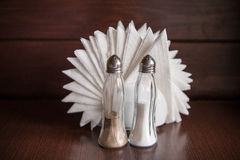 Napkins, Salt and Pepper shakers Stock Photos