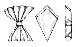 Napkins serving. Hand drawing vector set Royalty Free Stock Images