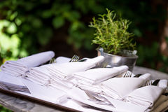 Napkins with silverware pouch Royalty Free Stock Image