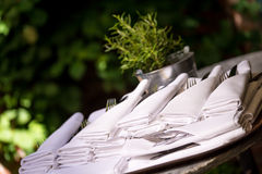 Napkins with silverware pouch Stock Image