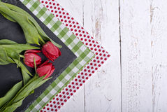 Napkins with an tulips Royalty Free Stock Photos