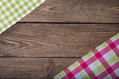 Napkins on a wooden table with space for text Stock Photography