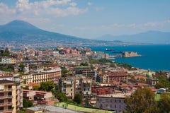 Naples. Italy, Naples, Bay of Naples, Mount Vesuvius on horizon Royalty Free Stock Photos