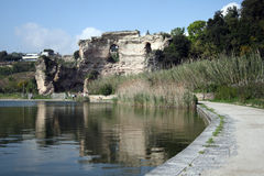 Naples-The Apollo temple inside the Averno Lake. Italy-Naples-The Apollo temple inside the Averno Lake royalty free stock photography