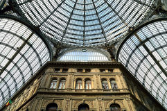 Naples,architecture,gallery. NAPLES: Interior architectural details of Umberto I gallery in Naples, Italy. It is a public shopping gallery built in 1887-1891 Stock Photos