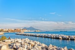 Naples bay Mediterranean sea and Vesuvius Stock Images