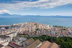 Naples bay, Sorrento and Capri Island, Italy. Aerial view of Naples, Italy Stock Image