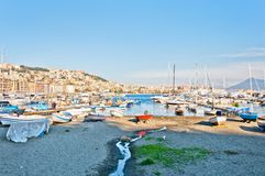 Naples bay view from Mergellina - Italy Royalty Free Stock Images