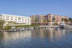 Naples bayfront buildings, Florida, USA. Bayfront buildings in the city of Naples. Florida, United States Stock Images