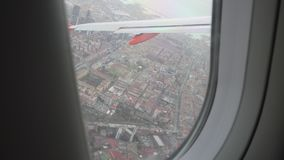 View from the plane window on Naples stock video footage