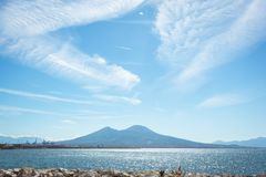 View of the bay and Vesuvius Volcano Royalty Free Stock Images