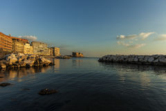 Naples, castel dell'ovo. Naples,  castel sant'elmo in the night Royalty Free Stock Photos