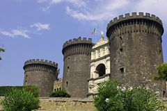 Naples castle. Castle Nuovo, middle age fortress. Naples. Italy royalty free stock photo