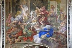Naples; church of Gerolamini: expulsion of Eliodoro. Fresco  by Ludovico Mazzanti in the baroque Church of Gerolamini Royalty Free Stock Photo