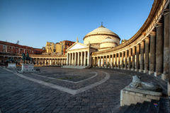 Naples, church of Sain Francesco di Paola. Naples, Plebiscito Square with church of Sain Francesco di Paola Stock Photography
