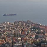 Naples city and Gulf of Naples Campania region Italy. view from Castel Sant`Elmo stock photo