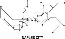 Naples City map. Naples subway map available in vector file format Royalty Free Stock Image