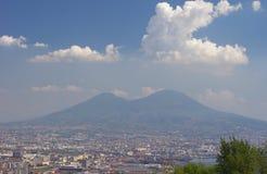 Naples city view and Vesuvius Stock Image