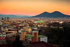 Naples Cityscape with Vesuvio Royalty Free Stock Photography
