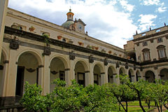 Naples: the cloister of Gerolamini Stock Photos
