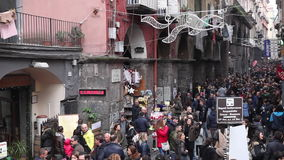 Naples, crowd in Via dei Tribunali stock video footage