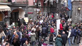 Naples, crowd in Via dei Tribunali stock footage